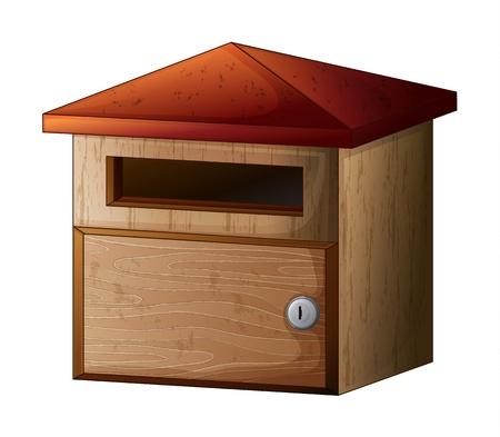 Illustration d'une boîte aux lettres en bois avec verrouillage sur un fond blanc