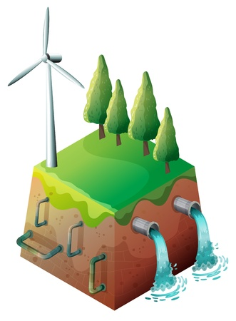 Illustration of a windmill and water pipes on a white background