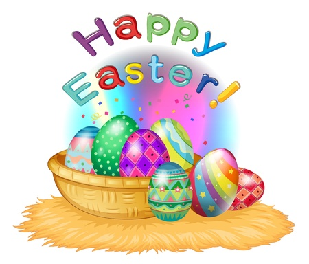 Illustration of a happy easter greeting with a basket full of eggs on a white background