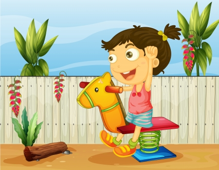 Illustration of a little girl playing insde the fence Vector