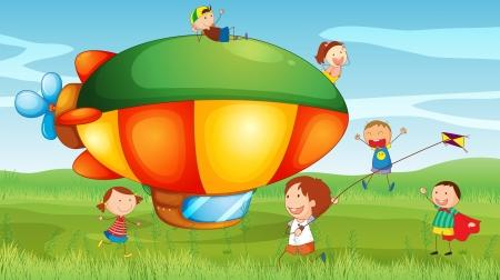 ballon dirigeable: Illustration d'un dirigeable dans les collines