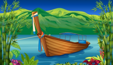 Illustration of a boat  near the bamboo plant Vector