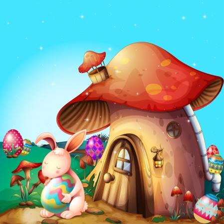 oblong: Illustration of easter eggs hidden near a mushroom-designed house