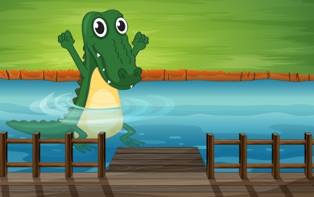 Illustration of a crocodile in the river Vector