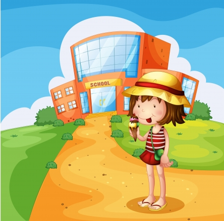 Illustration of a girl eating an ice cream near the school Vector