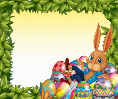 egg hunt: Illustration of a male bunny in a leafy frame border