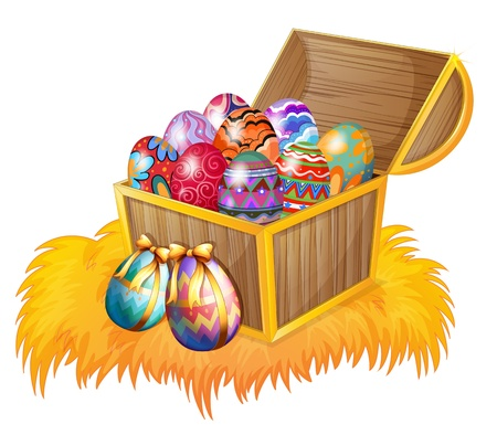 canvass: Illustration of a wooden box with easter eggs on a white background