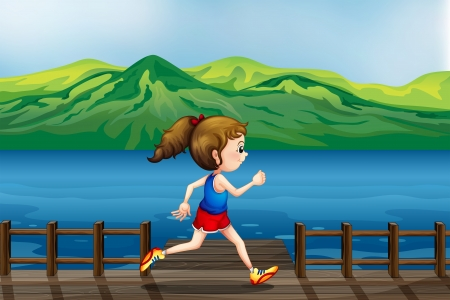 Illustration of a girl running at the port Stock Vector - 17897187