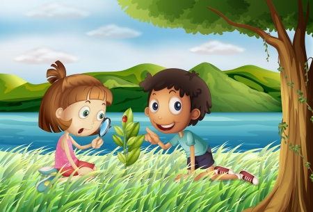 Illustration of kids near the river with a magnifying glass Vector