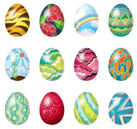 Illustration of a dozen of colorful easter eggs on a white background Vector