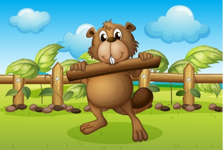 picure: Illustration of a beaver inside a fence holding a wood