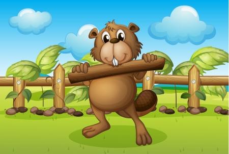 nutria caricatura: Ilustración de un castor en el interior de una valla de madera que sostiene una