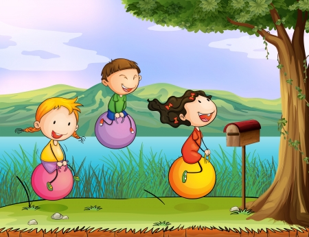 cloud clipart: Illustration of kids playing near a wooden mailbox
