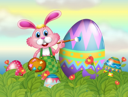 Illustration of a bunny painting the egg in the garden Vector