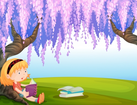 kids reading book: Illustration of a girl reading a book at the park