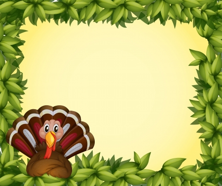 Illustration of a turkey in a leafy frame border Vector