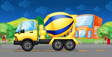 cement mixer: Illustration of a cement truck running in the street