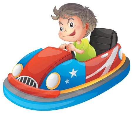 Ilustración de un muchacho joven que monta un auto de choque sobre un fondo blanco