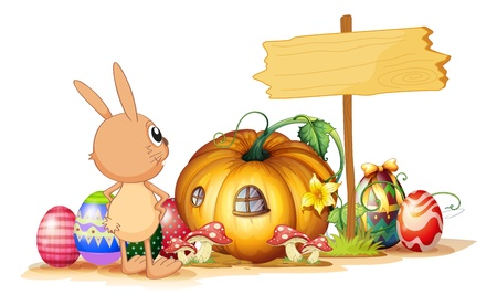 picure: Illustration of a rabbit, easter eggs, a pumpkin and an empty signboard on a white background