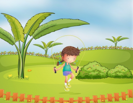 picure: Illustration of a girl playing jumping rope in the park