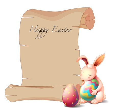 april clipart: Illustration of a bunny with two Easter eggs on a white background