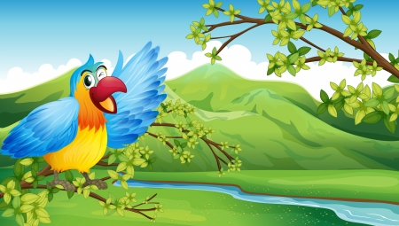 Illustration of a big and colorful parrot near the river