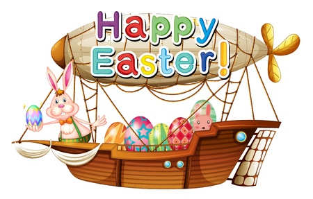 flying boat: Illustration of a unique happy easter greeting on a white background