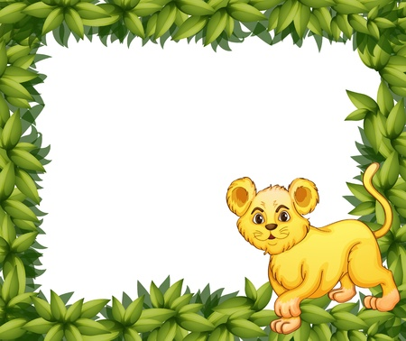 animal border: Illustration of a young tiger in a blank leafy signage