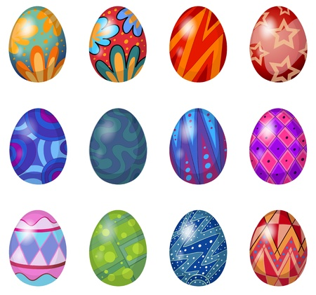 cartoon easter: Illustration of a dozen of easter eggs on a white background