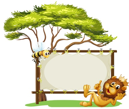pic  picture: Illustration of a lion beside a blank advert spaceo n a white background