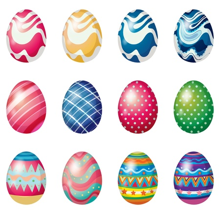 Illustration of the easter eggs for the easter Sunday egg hunt on a white background Vector