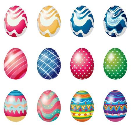huevo caricatura: Ilustraci�n de los huevos de Pascua para el domingo de Pascua caza del huevo sobre un fondo blanco