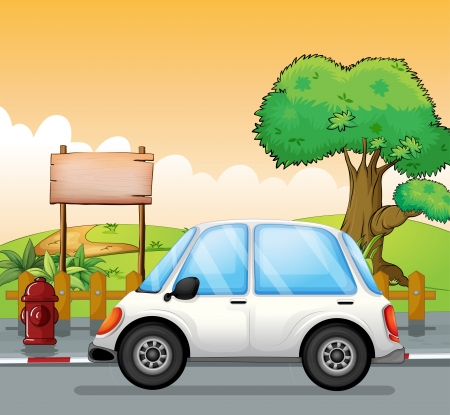 Illustration of a white car in the street with an empty board Vector