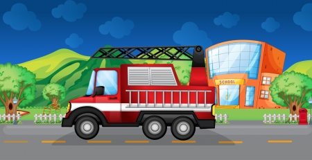 Illustration of a red towing truck Vector
