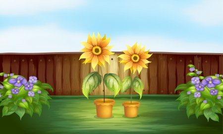 potting soil: Illustration of plants inside a fence Illustration