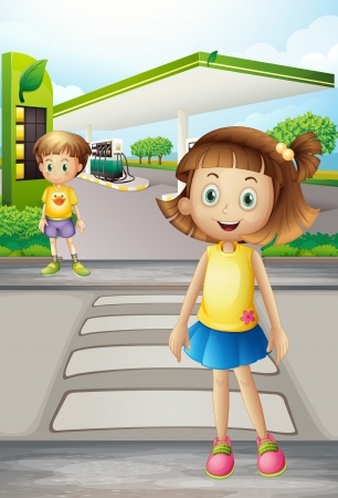Illustration of a girl and a boy at the road Vector