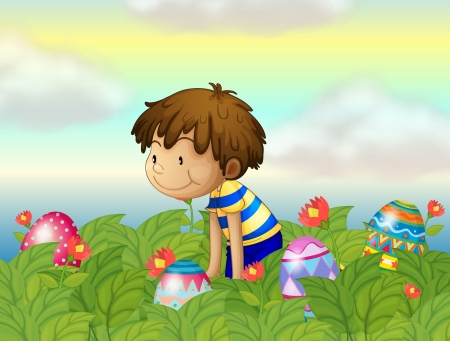 egg hunt: Illustration of a kid hunting eggs Illustration