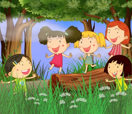 Illustration of children playing in the woods Vector