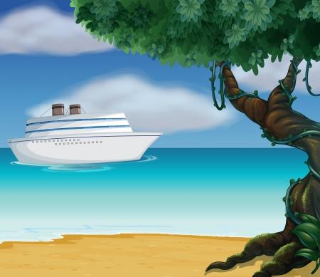 Illustration of a white boat