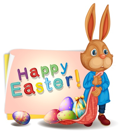 Illustration of a happy easter greeting with bunny and eggs on a white background Vector