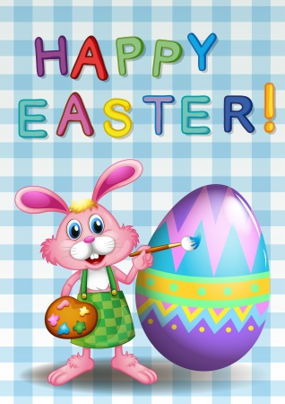 canvass: Illustration of a happy easter card with a bunny and an egg