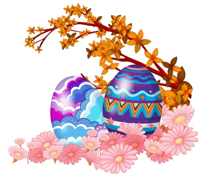 oblong: Illustration of two easter eggs hidden in the garden on a white background