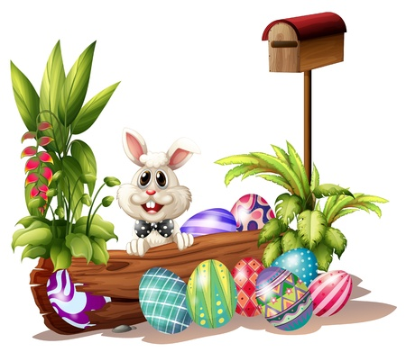 april clipart: Illustration of the easter bunny near the mailbox on a white background