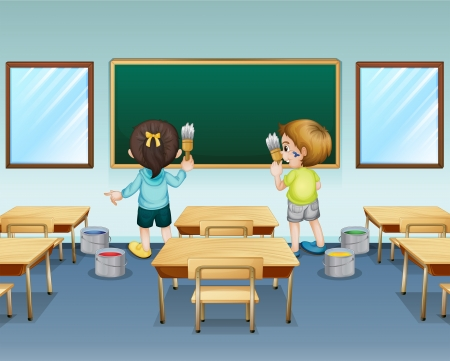 class room: Illustration of students painting their classroom Illustration