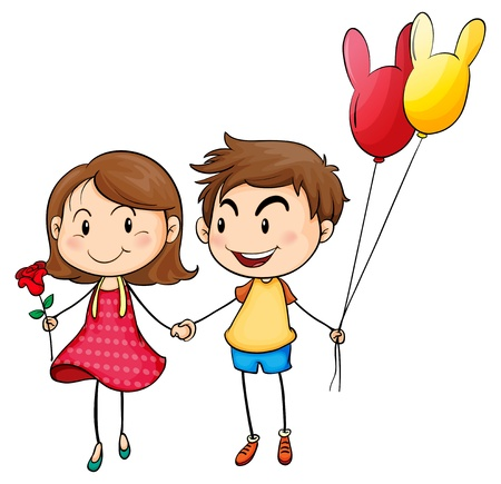Illustration of a girl with a flower and a boy with balloons on a white background Vector