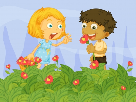 picure: Illustration of kids picking up flowers in the garden