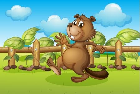 Illustration of a beaver running inside a fence Vector