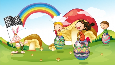 picure: Illustration of a bunny and kids with easter eggs Illustration