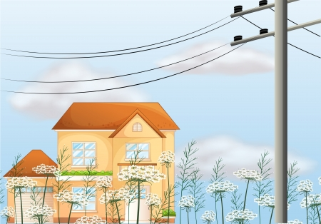 picure: Illustration of a big house near an electrical post