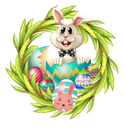 Illustration of an easter design with a bunny, eggs and leafy plant Vector